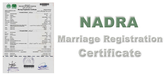 NADRA Marriage Registration Certificate Karachi